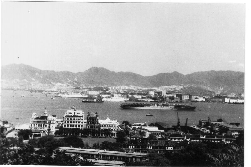 Hong Kong harbour and Cricket Club 1954