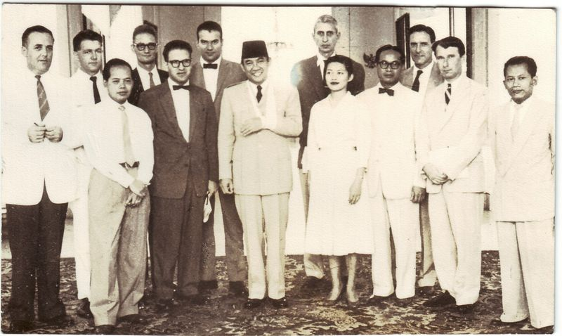 Journalists with Sukarno